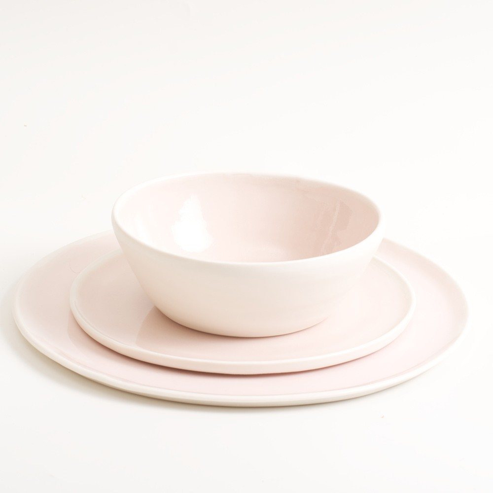 Handmade Porcelain Dinner Set. Three pieces with a bowl and two plates by Linda Bloomfield. These soft pastel porcelain plates and bowls are ideal for cereal at breakfast, soup at lunchtime, and pasta at dinner. Mix and match pink, pale blue, turquoise and grey. Hand thrown in London. Dishwasher safe.