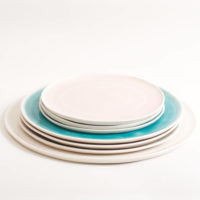 Handmade porcelain plate set individual pastel colours. Made in 3 sizes 5 colours. Hand thrown in England, dishwasher safe. These look great as part of a mix and match set. For every day dining and entertaining.