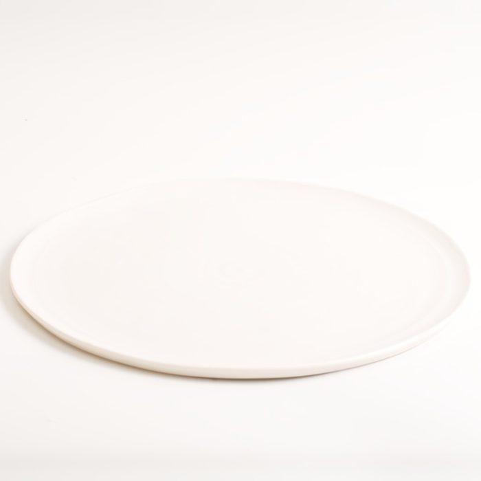 Handmade porcelain pottery plates white