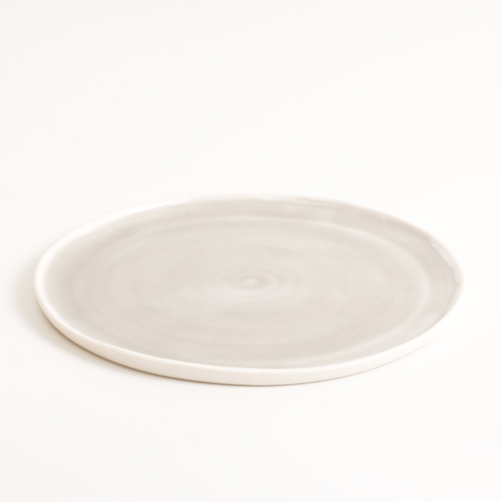 Small grey handmade porcelain plate. Made in 3 sizes 5 colours. Hand thrown in England, dishwasher safe. These look great as part of a mix and match set. For every day dining and entertaining.