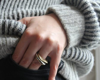 Silver stacking rings - Three Peaks ring Mountain collection in silver and brass