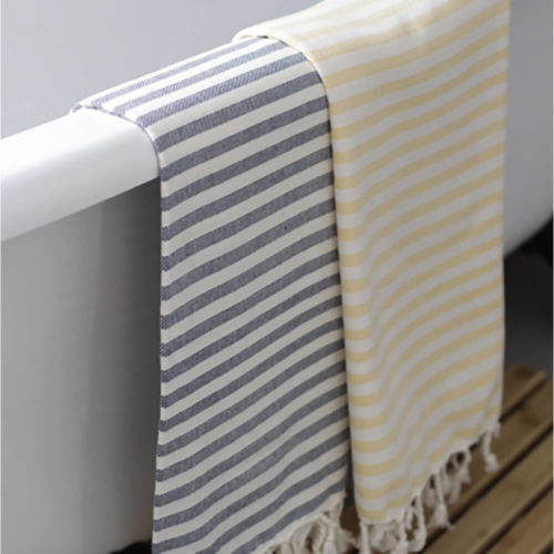 Turkish beach towels, stripy in a range of vibrant and neutral colours