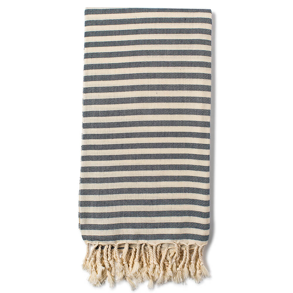 Turkish beach towels, Cemile in denim. Handwoven by artisans in Turkey. Made from ethically sourced cotton.