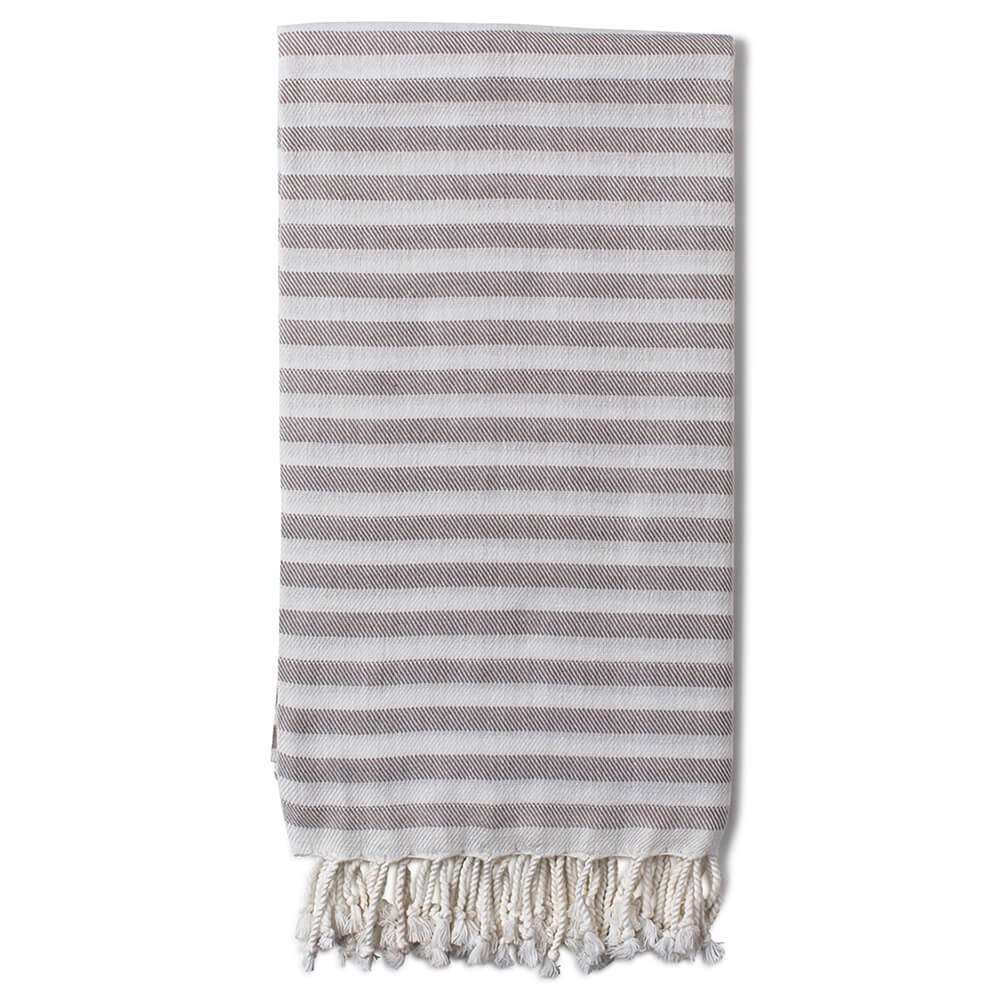 Turkish beach towels, Cemile in grey. Ethically made in Turkey by family ateliers.