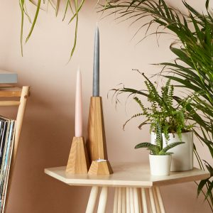 wooden candle holders - MIMA collection. Geometric candle sticks and tealight holders in three shapes and sizes.