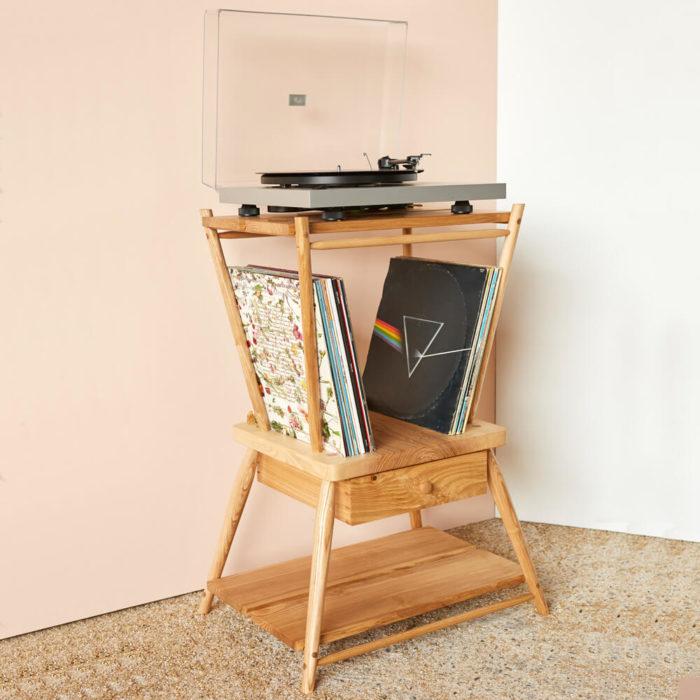 turntable stand - MIMA - handmade by John Eadon, sold on chalkandmoss.com