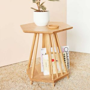 Magazine Rack Table - MIMA. The perfect storage solution for books, magazines and plants. Popular as a magazine rack table in oak.