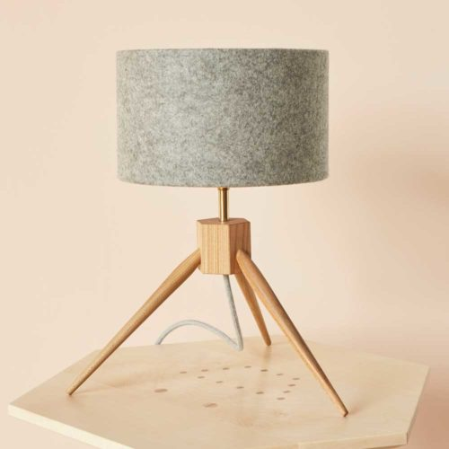 Tripod table lamp - MIMA. Four British hardwoods, three different chords and an optional felt lamp shade.