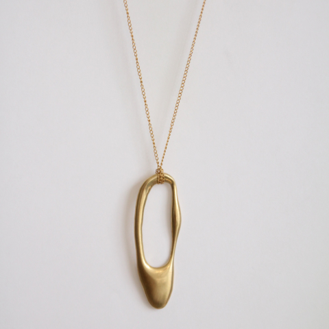 Lava Drop necklace plain gold side, inspired by molten lava