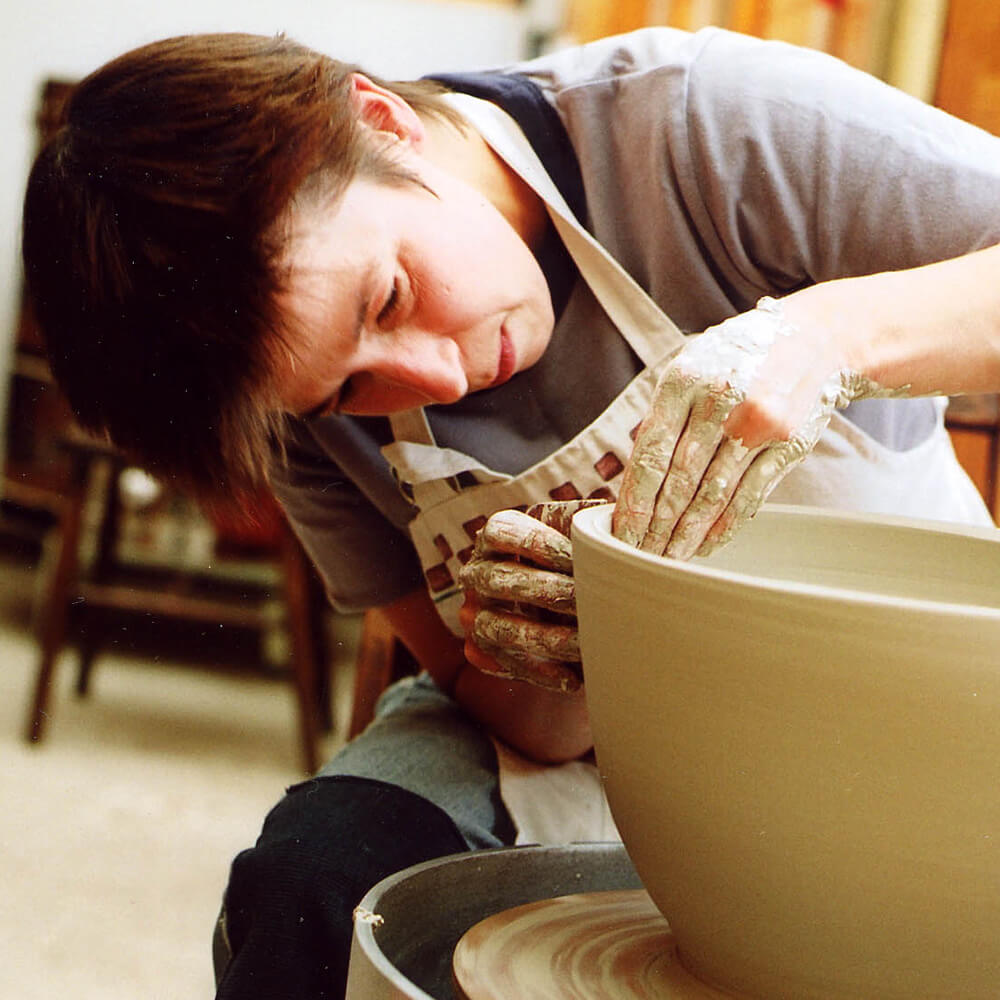 Linda Bloomfield on her Potters Wheel in West London