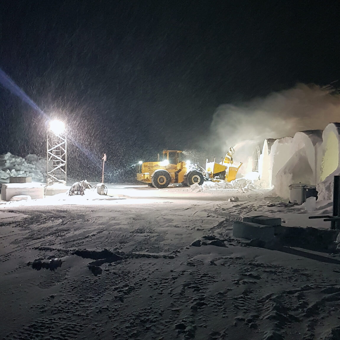 Three more hotel rooms are constructed at the ICEHOTEL, spraying icy snow