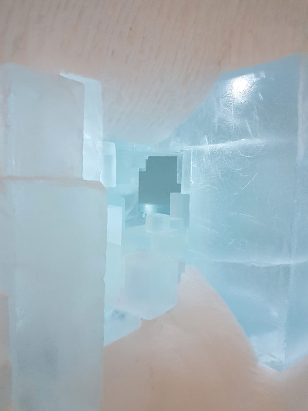 A geometric hole structure in the ice sculpted ICEHOTEL in Sweden