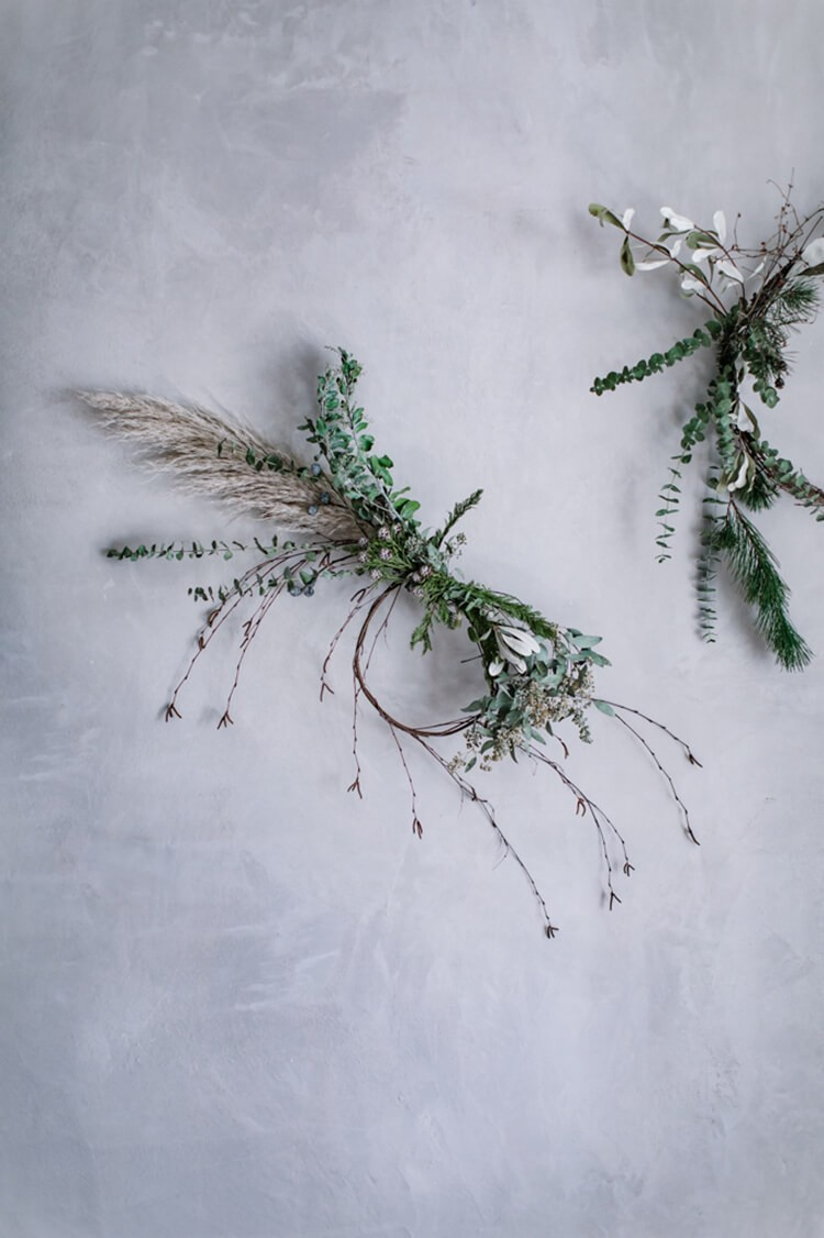 Wheat, pine, eucaluptus and more in this elaborate Christmas wreath