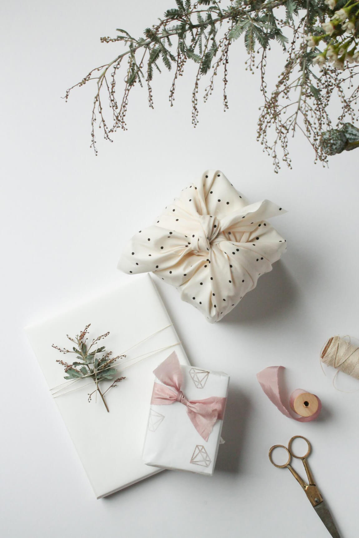 Paper free gift wrapping ideas, using spare fabric and low grade baking paper