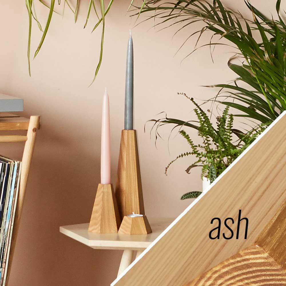 Ash wooden candle holders - John Eadon on Chalk & Moss