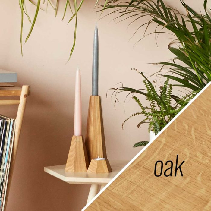 Oak wooden candle holders - John Eadon on Chalk & Moss
