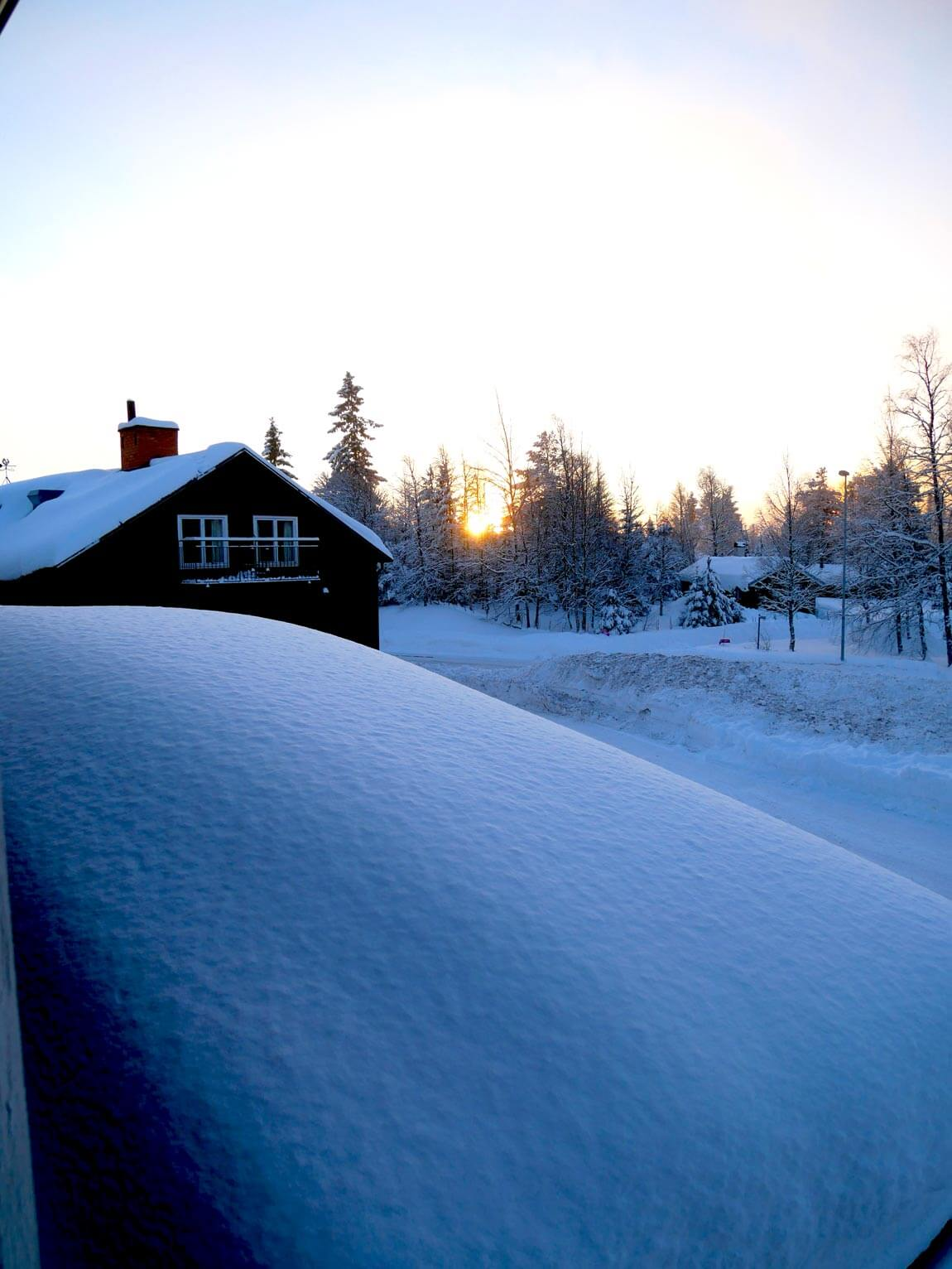 Pillowy snow in morning light, Sweden, close to winter solstice. Photo by Anna Sjostrom Walton, Chalk & Moss.