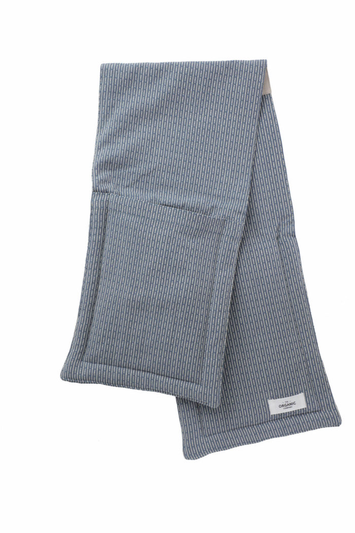 Grey blue double oven gloves in organic cotton. Made by The Organic Company in Denmark.