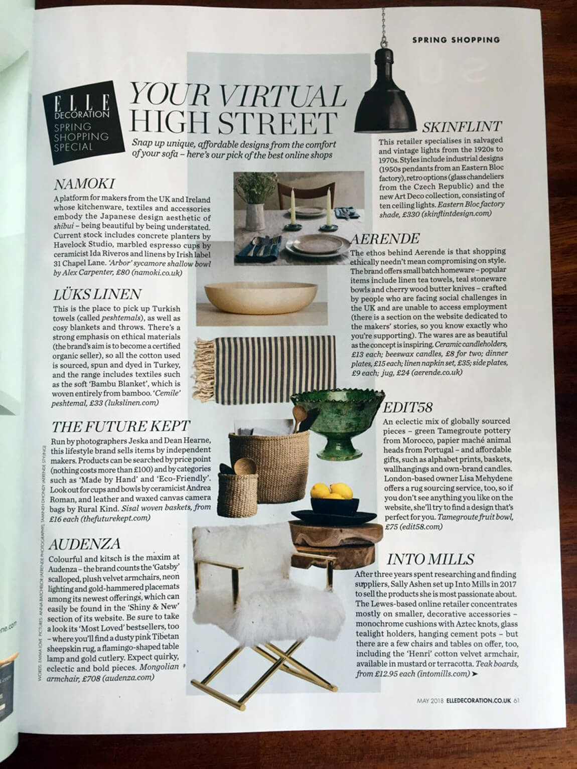 Chalk & Moss has been selected as one of the UK's best online shops (May 2018 issue, out in shops 5 April). Turn to page 63 for the Chalk & Moss writeup.