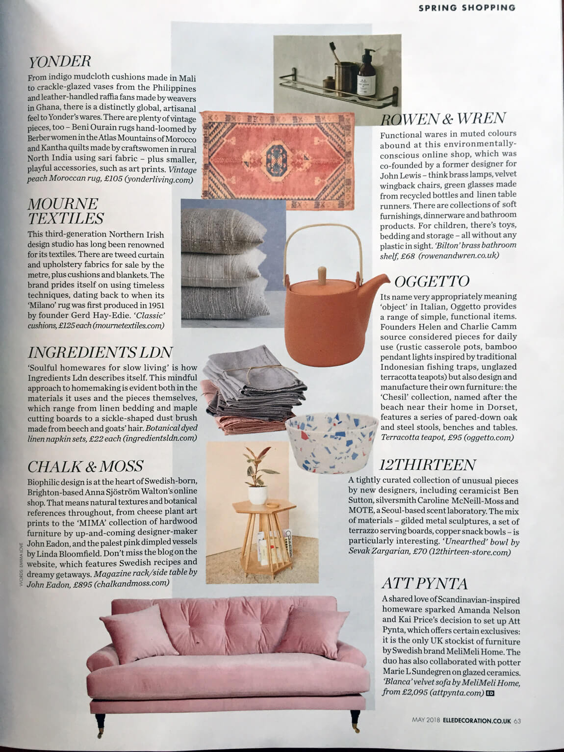 UK's best homeware websites - Elle Decoration features Chalk
