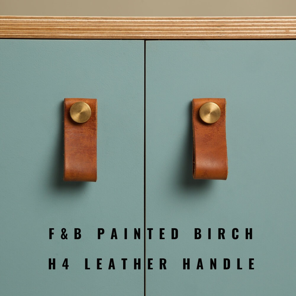 Birch door painted in Farrow & Ball paint. Adorned here with leather pull handles. SB2 dining room sideboard by OOTW, on Chalk & Moss.