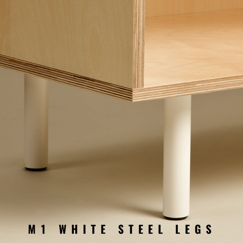 Sideboard with storage, in pine plywood, with several customising options. Seen here are the white powder coated steel pin legs.
