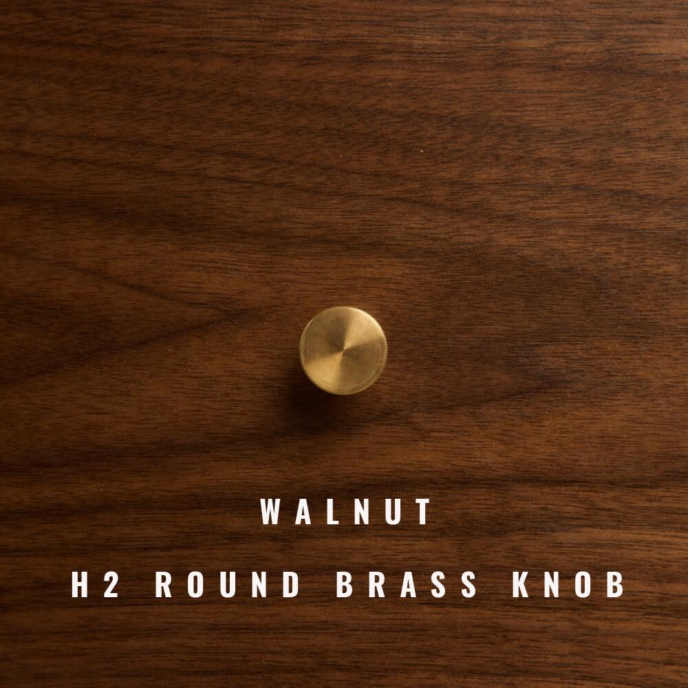 Sideboard 1/2/3/4 with walnut front, round brass knob.
