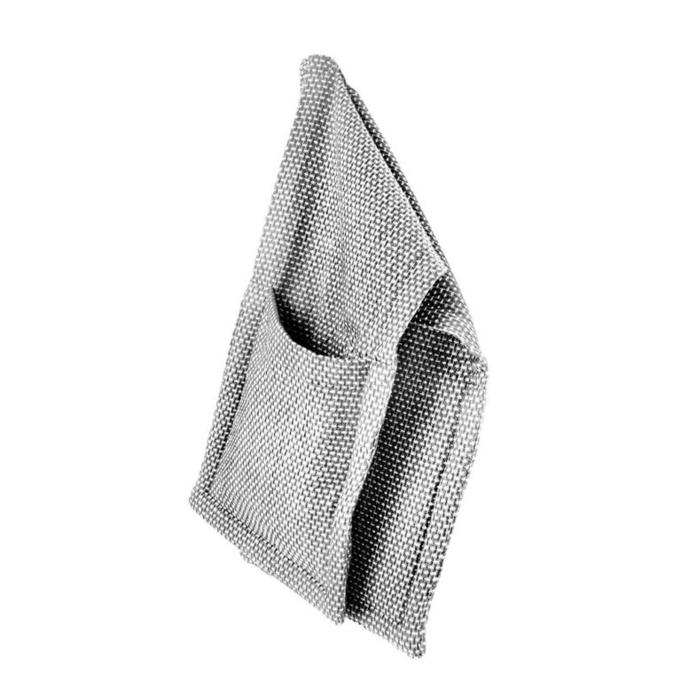 Oversized neutral coloured oven gloves, designed in Denmark, ethically made in India. Find them on chalkandmoss.com. Seen here in light grey.