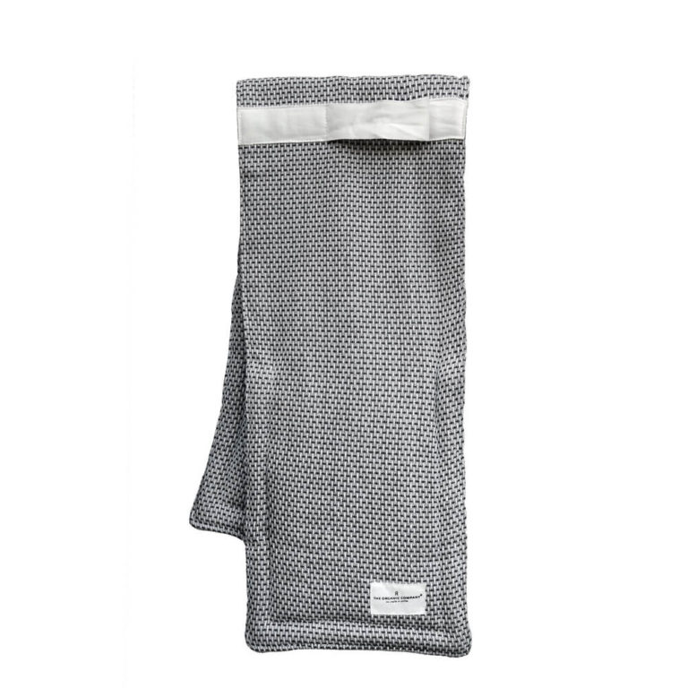 Light grey double oven gloves by The Organic Company. Designed in Denmark, ethically produced in India, sold in the UK by Chalk & Moss.