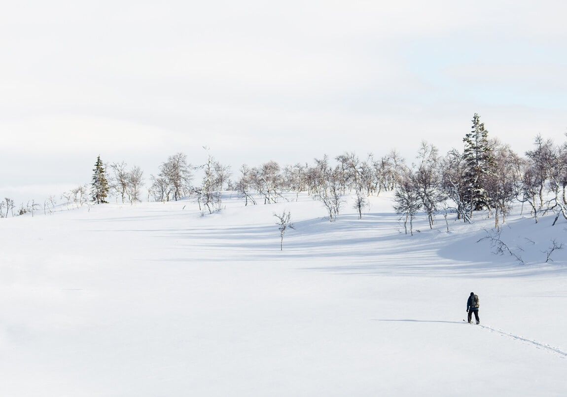 Cross country skiing on the frozen water in Finland. Image by Jon Flobrant on Unsplash.com.