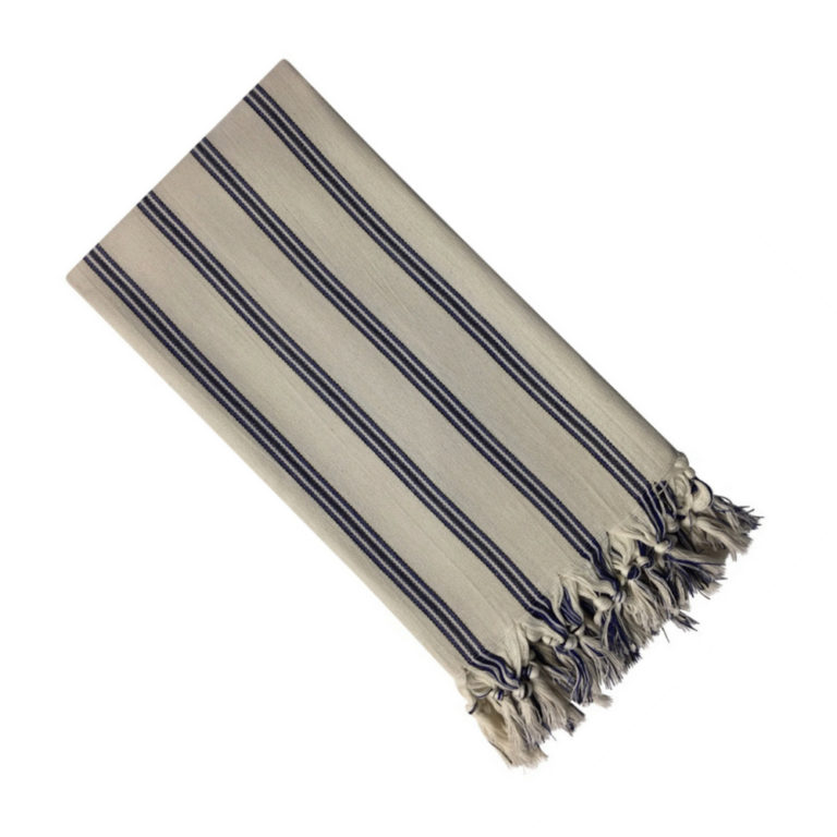 The striped Voyage is the perfect travel scarf and home accessory for the beach hut look! The scarf and towel is woven by master weavers in Turkey with 100% natural cotton.