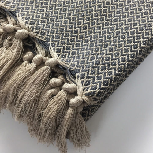 King size bed throw or large sofa blanket in a geometric diamond pattern typical of Turkish design. 100% natural cotton, 270 x 210cm