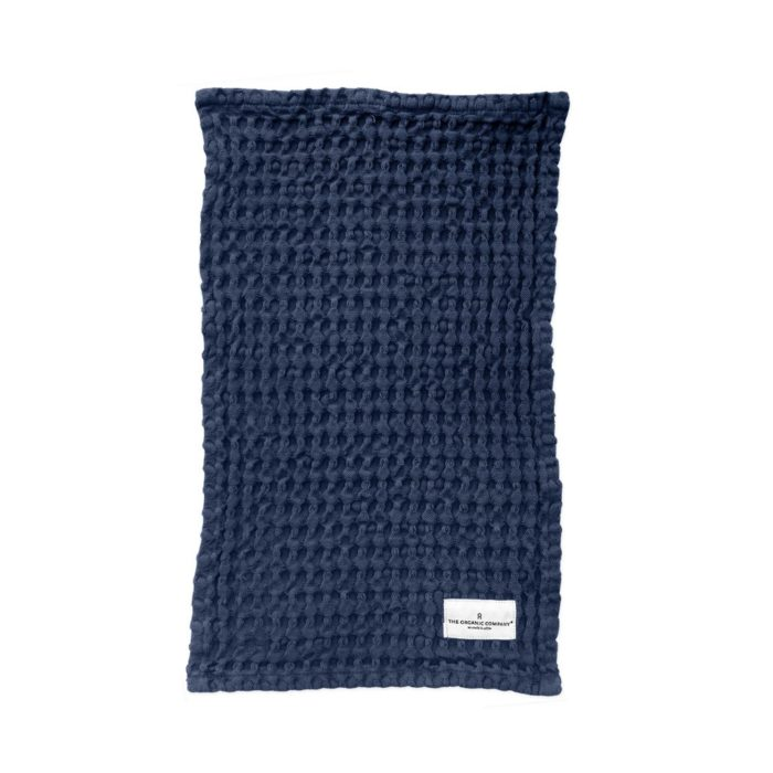 Waffle cloth in dark blue, ideal for both kitchen and bathroom. By the Organic Company, on natural homeware store Chalk & Moss.