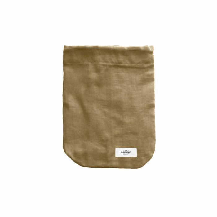 Food produce bag in organic cotton, colour khaki.