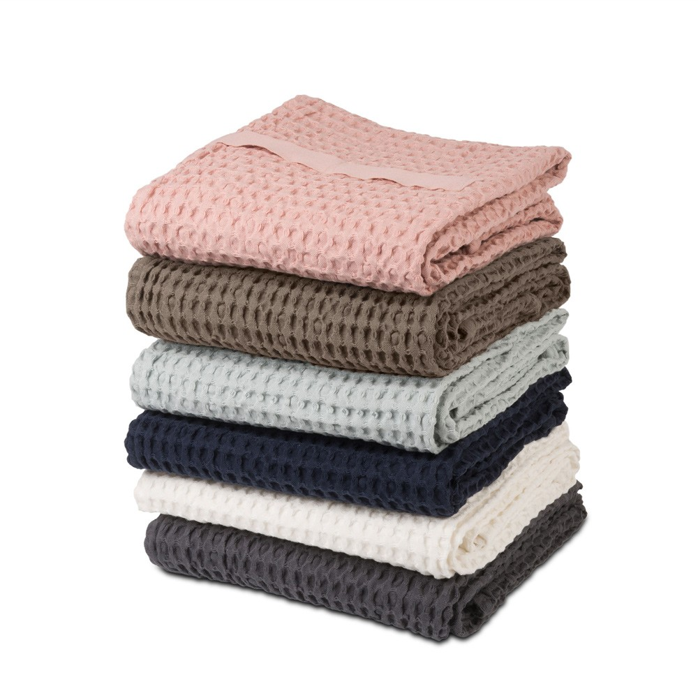 Waffle towels designed by The Organic Company. This soft and absorbent medium sized towel is available in a range of soft colours with a Scandinavian feel.