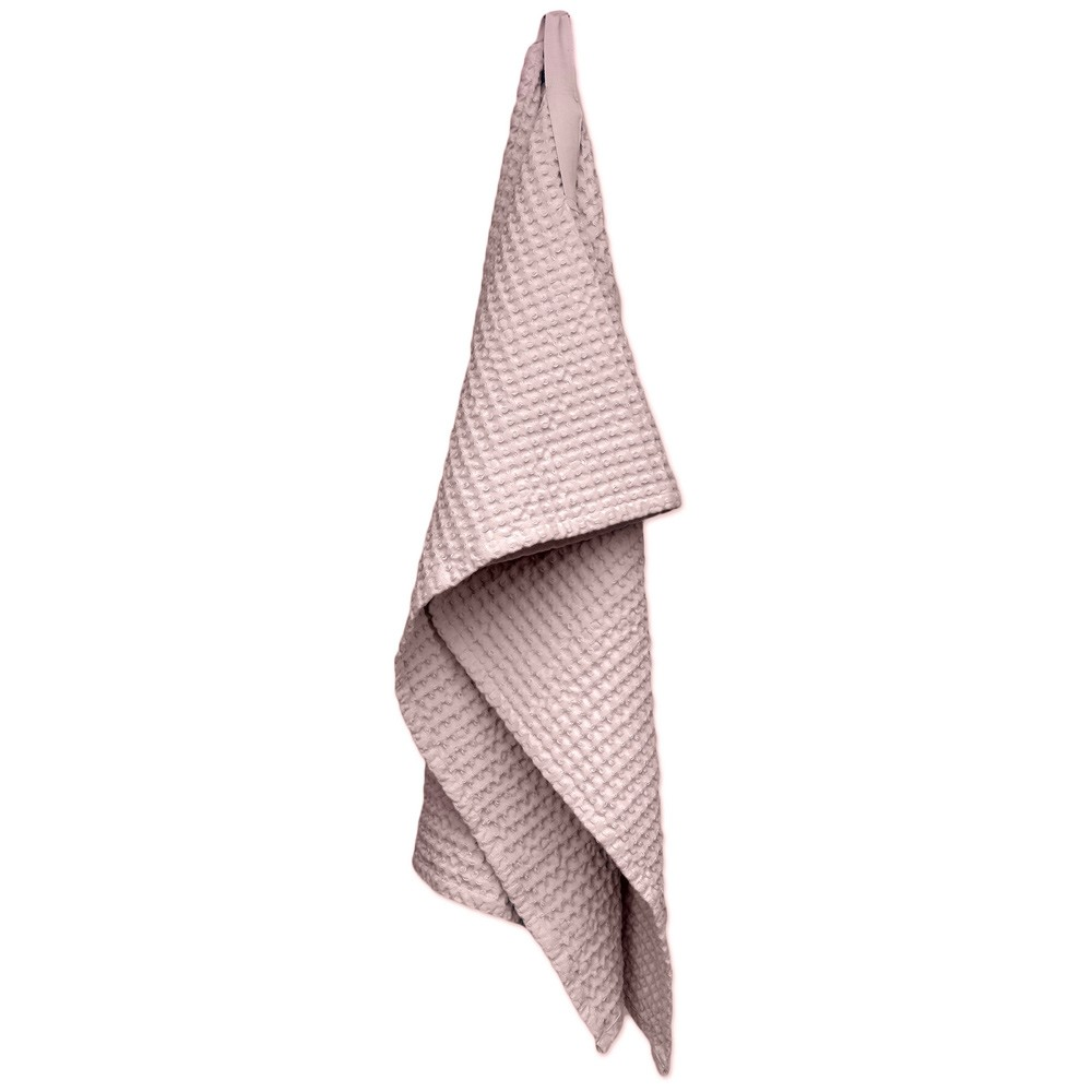 Waffle towels designed by The Organic Company. This soft and absorbent medium sized towel is available in a range of soft colours with a Scandinavian feel. Seen here in pale pink.