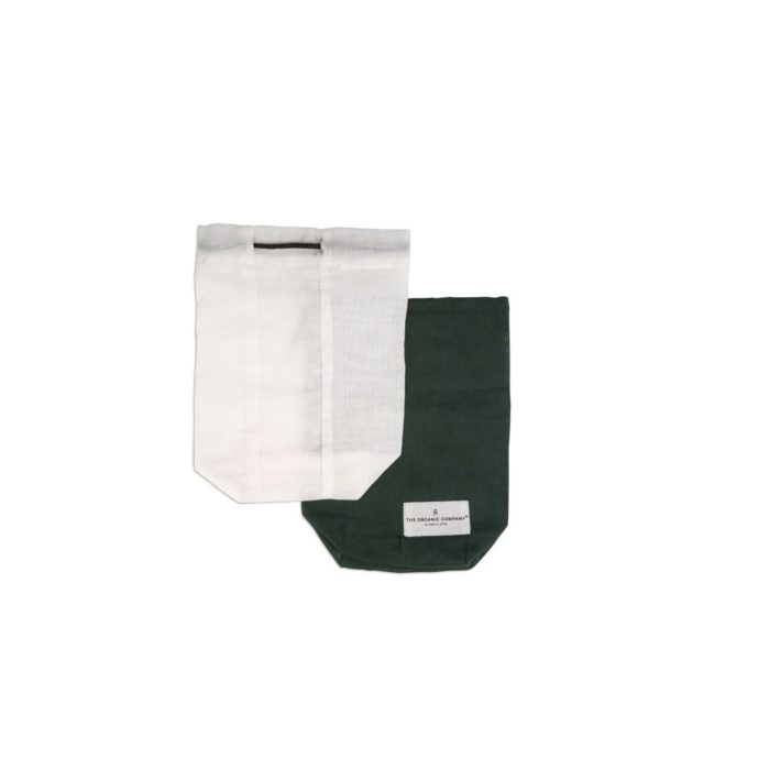 Food storage bag by Organic Company on Chalk & Moss. Available in white or green and 3 sizes (shown in small).