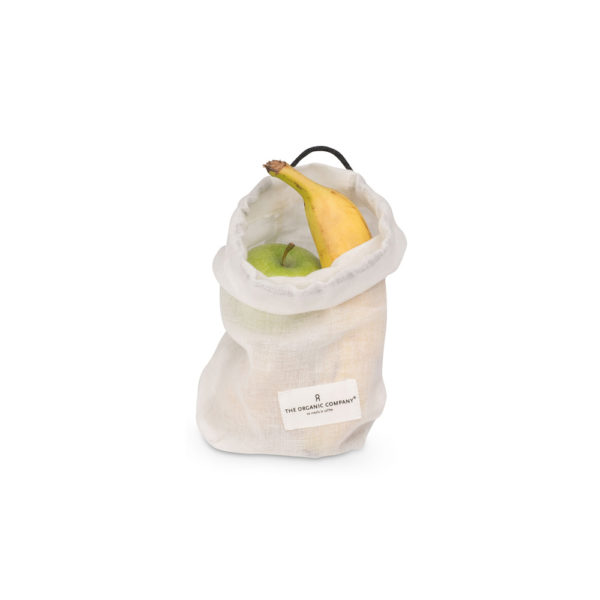 Food produce storage bag by The Organic Company on Chalk & Moss. Available in white or green, and three sizes (small, medium, large)