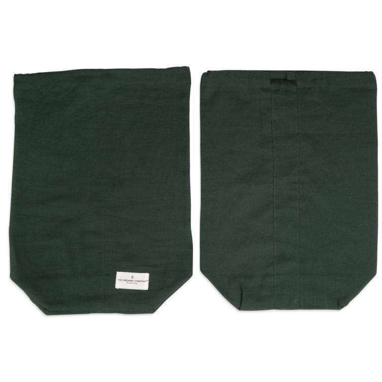Organic Company food bag on Chalk & Moss (chalkandmoss.com). Washable drawstring bag for food produce storage. Available in white or green (shown in green) in three sizes.