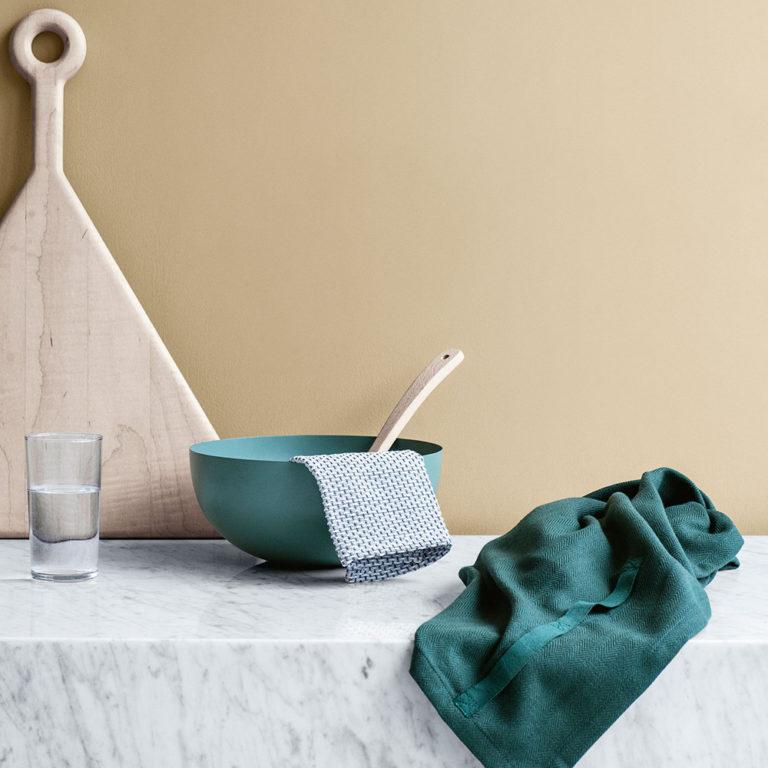 Extra large tea towel in dark green, by The Organic Company on Chalk & Moss (chalkandmoss.com).