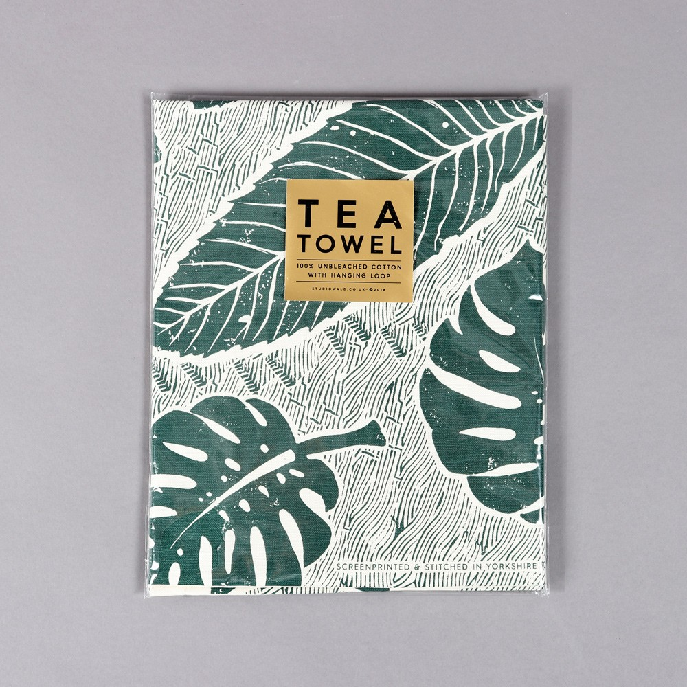 Green tea towel designed with a screen printed large leaf design. This is how it will arrive to you in neat packaging and gold sticker. By Wald on Chalk & Moss (chalkandmoss.com).