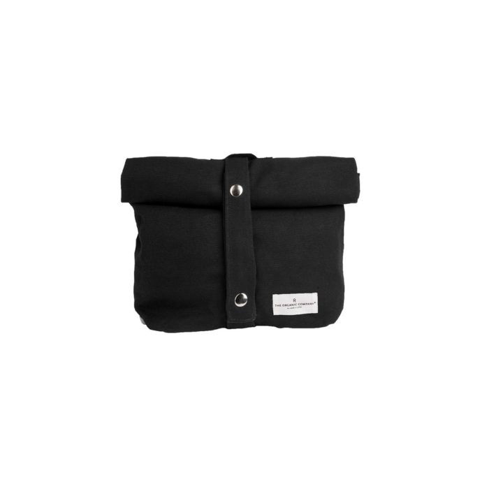 Non plastic eco lunch bag in pure cotton canvas by Organic Company on Chalk & Moss. Available in black, natural white and dark blue. Shown here in black.