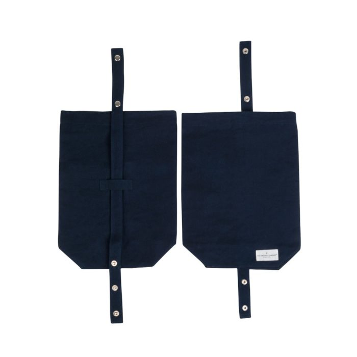 Eco lunch bag in pure cotton canvas by Organic Company on Chalk & Moss. Available in black, natural white and dark blue. Shown here in blue with adjustable strap.