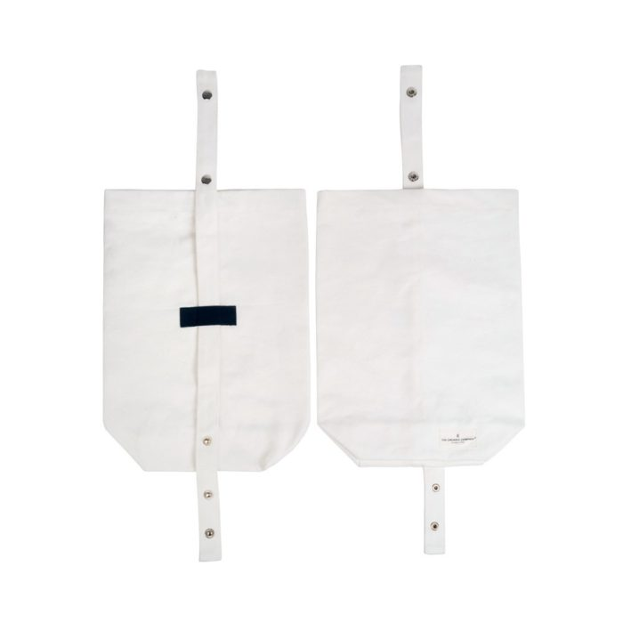 Eco lunch bag in pure cotton canvas by Organic Company on Chalk & Moss. Available in black, natural white and dark blue. Shown here in white with adjustable strap.