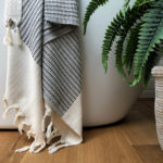 Lutti hammam towel in black on chalkandmoss.com. Design by Luks Linen, made ethically in Turkey using 100% natural cotton.