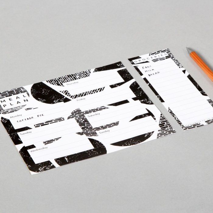 Weekly meal planner (A5) with tear off shopping list - monochrome print design by Wald. Sold on Chalk & Moss.