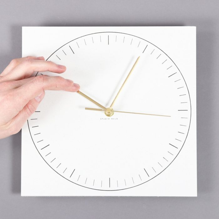 Paper clock in recycled paper with a sturdy back. Designed by Wald, sold on Chalk & Moss (chalkandmoss.com).