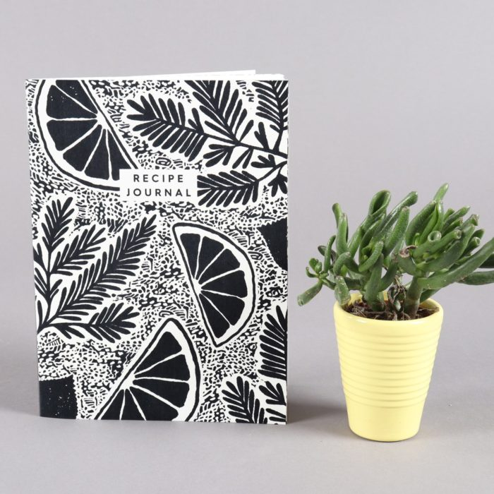 Recipe journal with 52 pages, each with space for notes, ingredients and steps. Botanical cover design. 22 x 16cm (A5). By Wald, sold on Chalk & Moss (chalkandmoss.com).