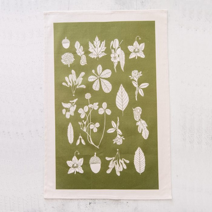 "Botanial summer tea towel in the colour ""greenery"". By Softer + Wild on Chalk & Moss (chalkandmoss.com)"