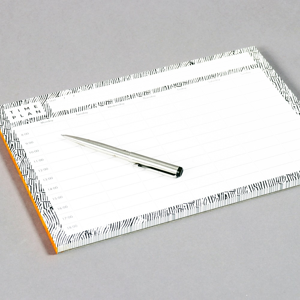 52 page time planner in recycled paper, scheduling work or study from 8-18.00 each day. A4 format, ideal for desks and walls. 21 x 29.7cm (A4). Design by Wald, sold on chalkandmoss.com.